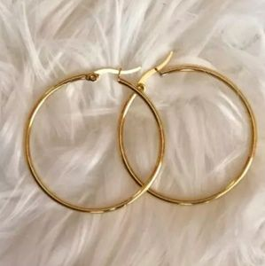 """NEW Yellow Gold Tone 2"""" Round Circle Hoop Earrings"""